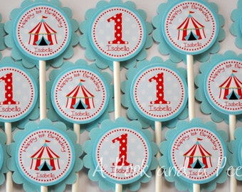 Circus Big Top Personalized Birthday or Shower Cupcake Toppers in Red Teal Blue Custom Cupcake Picks Set of 12 Aqua