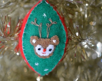 Felt vintage inspired ornament, Christmas, Holidays, Deer