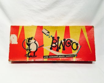 Vintage Bingo Game, No. 1116, With Embossed Plastic Numbers, Pressman Toy Corp, Made in the U.S.A