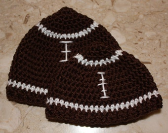 Crocheted Baby Football Beanie Hat - choose size
