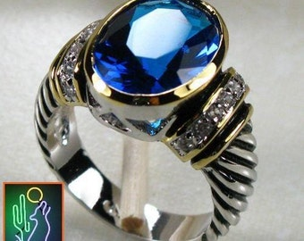 Sterling Silver and Vermeil Blue Topaz Gemstone Ring