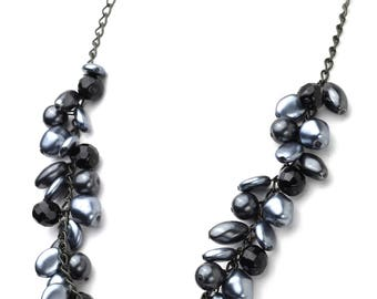 Black and Grey Necklace in Shell and Crystal Shades of Grey and Black Necklace