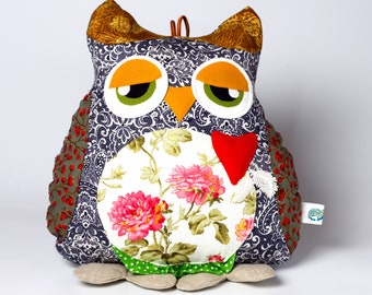 Gift owl toy Stuffed owl animal Cushion owl baby toy Owl nursery décor Owl pillow Sleeping room decor Interior doll Owl art toy owl for mum