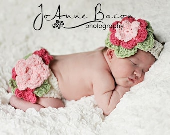 baby girl diaper cover, baby girl headband, baby girl clothes, crochet girl outfit, newborn girl photo prop, infant girl outfit