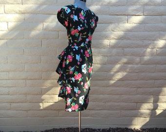 Vintage Floral 80s Ruffle Wiggle Dress Sz S