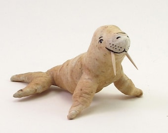 Vintage Style Spun Cotton Tea Stained Walrus Ornament/Figure (MADE TO ORDER)