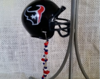 Mini NFL Houston Texans helmet rear view mirror charm