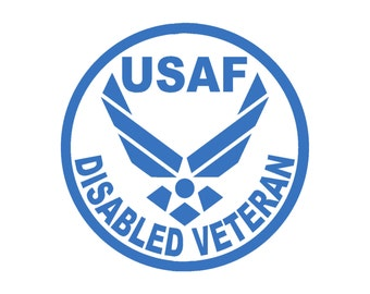 USAF Disabled Veteran Air Force Vinyl Window Decal Pick your size and color