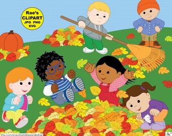 Autumn Kids digital clipart set