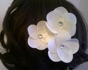 Satin and Crystal Flower Hair Fascinator, Bridal Hair Fascinator, Bridal Hair Flower, Bridesmaid Hair Fascinator, Flower Girl Hair Flower