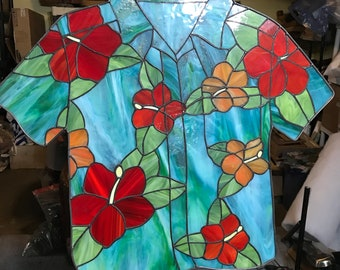 Colorful tropical/Hawaiian shirt stained glass panel