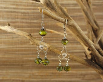 Sterling Silver and Czech Glass Chandelier Earrings