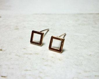 Square Stud Earrings, Dainty Earrings