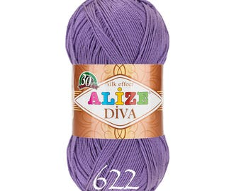 ALIZE DIVA Yarn hand knit yarn Microfiber acrylic yarn color choice hand knit crochet summer yarn spring yarn silk effect soft yarn
