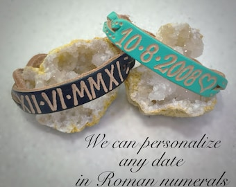 Roman Numerals Date Engraved Leather Bracelets, Custom, Couple Bracelets, His And Hers, Anniversary, Custom Bracelets, Remembrance bracelet
