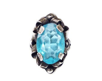 Mexican Sterling Silver Aquamarine Glass Ring - Mexico Silver, Artisan Ring, Statement Ring, Vintage Ring, Vintage Jewelry, Size 6.5