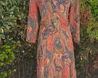 Vintage 2 Pc Top & Skirt Set, Contemporary Cloth Bait, 90s Style, Paisley Print, Brown, Orange, Long Skirt, Size Small Medium