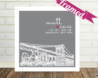 Wedding Shower Gift Bridal Shower Gift Personalized Skyline FRAMED ART Any City Available Worldwide Gift For Bride Gift for Groom