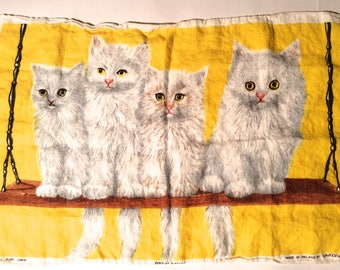 Vintage 1960s Four White Persian Kitten Cats on a Swing Irish Linen Tea Towel/Yellow Background/Collectible and Frameworthy