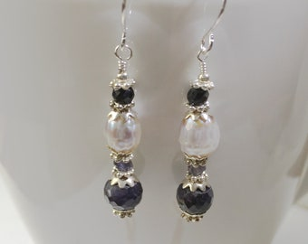 Sapphire, Iolite and Faceted Pearl Beaded Earrings