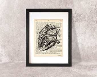 Human heart dictionary print -N03-Anatomy art print-Heart on book page-Heart art print-Upcycled Vintage Dictionary art- by NATURA PICTA