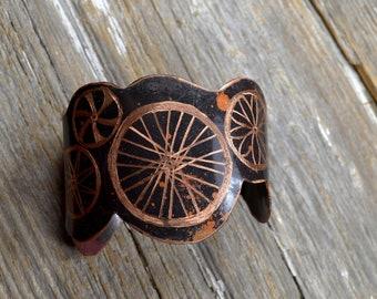 Bike Wheel Statement Cuff -  Hand Engraved Bicycling Obsessed Copper Cuff : Bike6