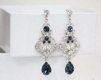 Blue Bridal Earrings  Swarovski Crystal Chandelier Wedding Earrings  Montana Blue Sapphire Wedding Jewelry FRANCES MID