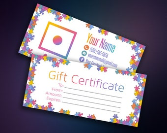 Gift Certificate - Gift Card - Business Cards - Gift Voucher - Digital Files - Home Office Approved Color&Fonts