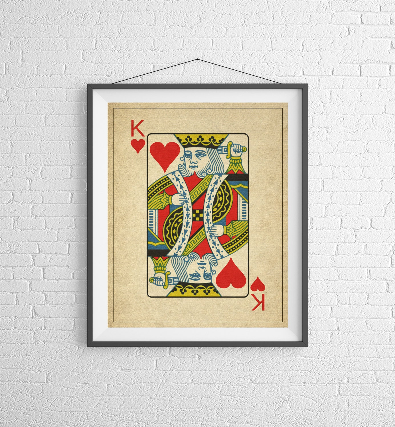 King of Hearts, Playing Card Art, Game Room Decor, Game Room Art ...