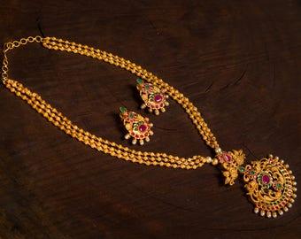 Nirmala Mala Temple Necklace | Indian Jewelry | Indian Necklace