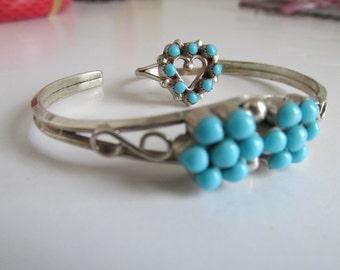 Turquoise Sterling Silver Cuff Bracelet, Multi Turquoise Stone Bracelet, Turquoise Cuff Bracelet Inspired Southwestern Jewelry