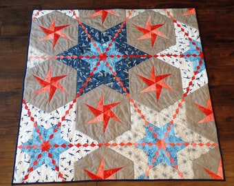 Beach, Quilt, Wall Art Quilt, Stars, Ocean, Nautical, Lap Quilt, Wall hanging, Handmade, FREE SHIPPING