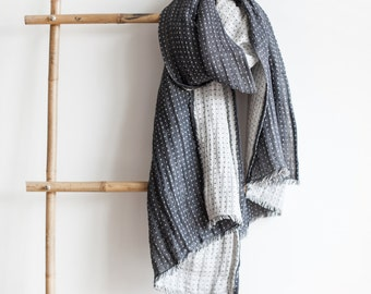 Natural Stonedwashed Linen Scarf /Dark Grey / Light Grey /