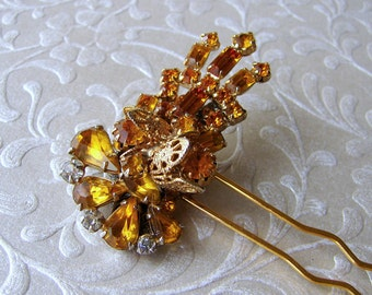 Golden Hairpin Amber Rhinestone Hairpiece Jeweled Hair Comb Vintage Jewelry Accessory Wedding Bridesmaid Pageant Ballroom Prom Bohemian Chic