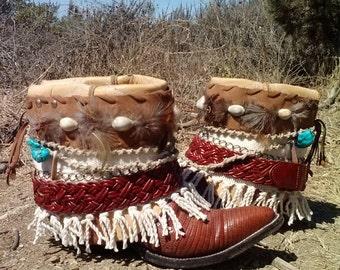 Upcycled Cowboy Boots- Custom Vintage Boho Gypsy Hippie- Baja California