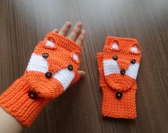 Fox gloves, flapped gloves, mens gloves, mens mittens,fox flapped gloves, crochet knitting animal gloves, gift for him, gift for bff