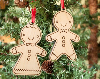 Gingerbread Cookie Wooden Christmas Ornaments: Boy Girl (Set of 2)