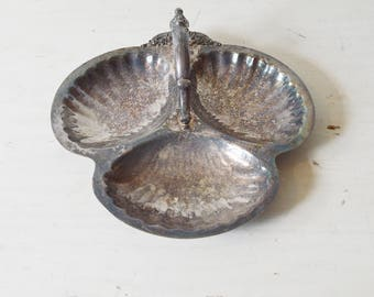 Triple Shell Silver Serving Dish, Shell Serving Dish, Silver Shell Dish, Silver Shell Dish, Seashell Silver Serving Dish, Silver Dish