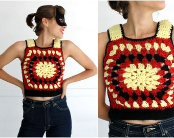 Vintage 1970s Crochet Yellow Red and Black Sleeveless Cropped Tank Vest | Small/Medium
