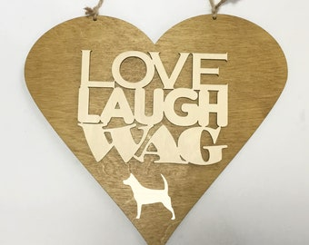 Dog Lovers Heart Plaque Large Handmade Love Laugh Wag Rescue Me Charity