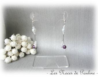 Earrings purple and white asymmetrical Julia