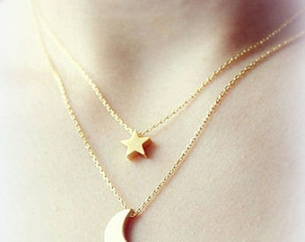 Necklace Moon Star Double chain Multilayer