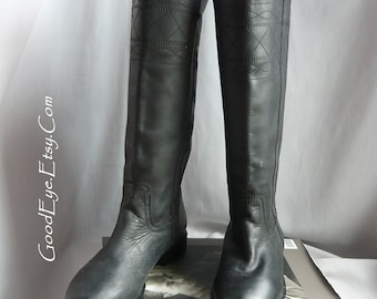 Vintage Black Leather Biker Roper Boots / Ladies size  Eu 37 USA 6 .5   UK 4 / JOIE Cowboy Flat Knee Riding Boot / made in Mexico