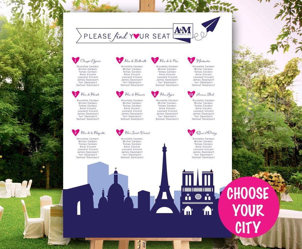 Wedding Seating Chart Skyline city Destination wedding
