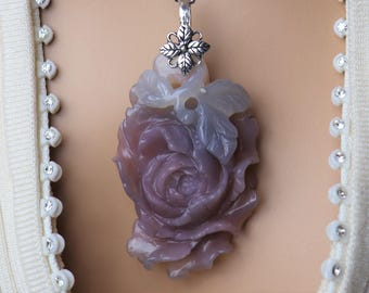Hand Carved Purple Chalcedony Peony Healing Stone Necklace with Positive healing Energy!