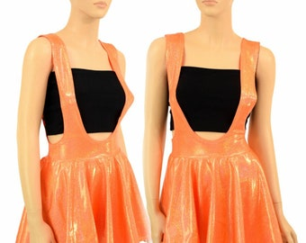 UV GLOW Orange Sparkly Jewel Holographic Suspender Mini Skirt Full Circle Stretchy Sparkly Shimmering - 155200
