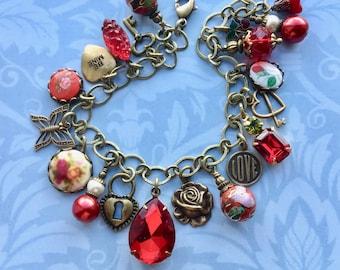 Charm Bracelet - Red Bracelet - Valentine Jewelry - Victorian Jewelry - Rhinestone Bracelet - Red Jewelry - Romantic Jewelry - Gift for Her