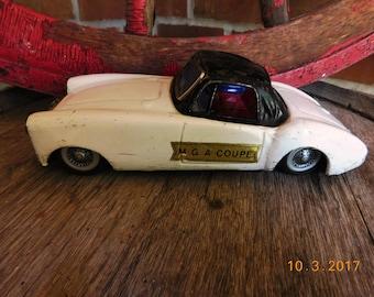 Vintage Made In Japan White Black MGA 1600 Couple Tin Friction Car