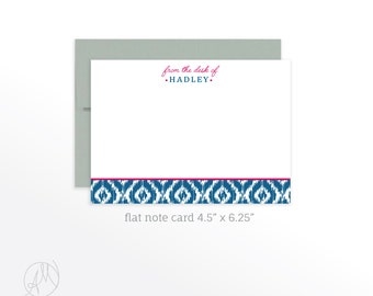 Personalized Note Cards for Her, Personalized Stationery, Flat Note Cards, Custom Thank You Note Cards, Preppy Stationery for Women