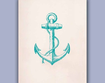 Anchor Print in green turquoise,  11X14  LARGE SIZE, Marine and  Nautical art,  Mixed Media Collage  Print, Coastal Living